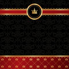 Vintage black background with golden ornamental ribbon, red dama