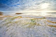 sunshine over sand dunes on the beach
