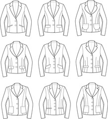 Vector illustration of women's business jackets