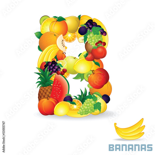 Alphabet From Fruit. Letter B