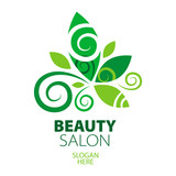 composition of green leaf logo for beauty salon