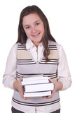 School girl holding books