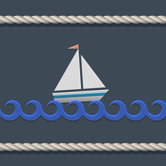 Vector background with sailboat and nautical rope