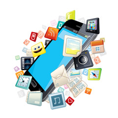 Mobile Smart Phone with Software Apps Icons Around