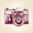 vintage old photo camera vector llustration - 53004558