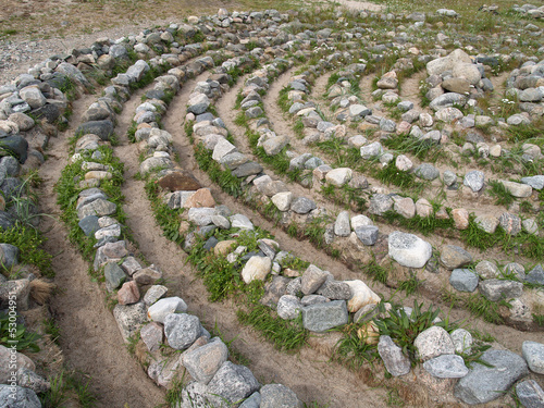 Stone labyrinth on the Big Solovki island, Russia