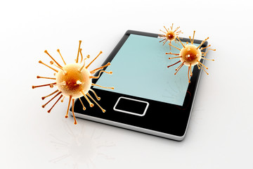 virus attacks the tablet computer