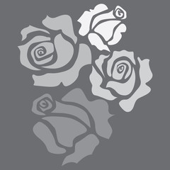 Four isolated roses - sketch illustration