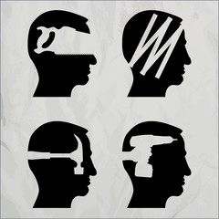 Heads with DIY tool theme - illustration