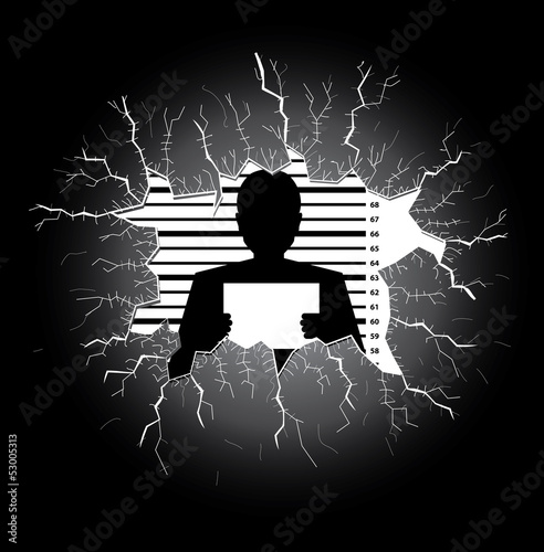 Police record man silhouette behind a broken glass table
