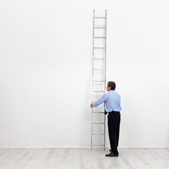 The corporate ladder - businessman at the start of carrier
