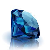 Realistic sapphire on white background with reflection - eps10