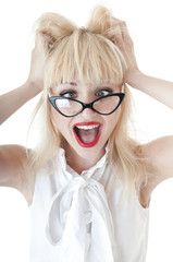 Portrait of crazy business woman in glasses on white background.