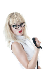 Portrait of seductive businesswoman wearing glasses on white