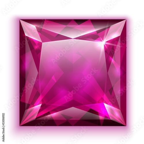 Princess cut pink diamond icon - eps10