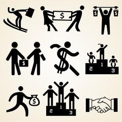Money people icon set, various money theme resources