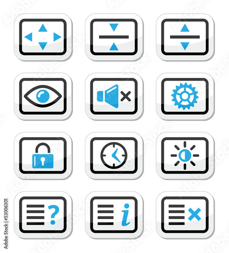 Computer tv monitor screen vector icons set