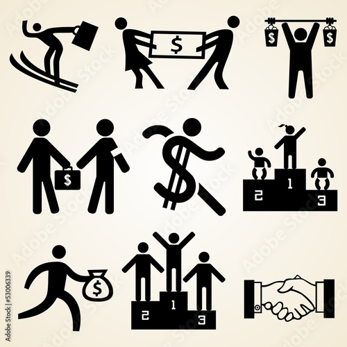 Money people icon set, various money theme resources
