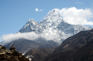 Summit of Ama Dablam mountain,Nepal,Everest region