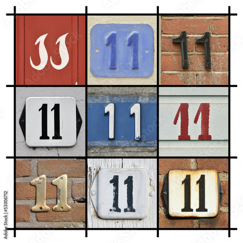 Collage of House Numbers Eleven