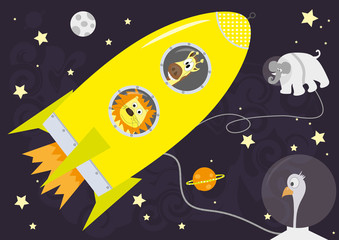 Yellow rocket and animals  in Space, horizontal