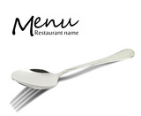 Restaurant menu design. Spoon with fork shadow isolated on white
