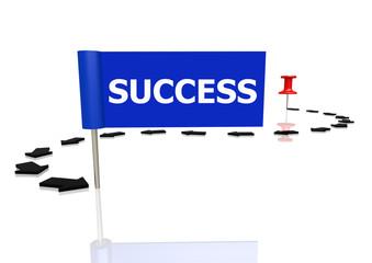 Push pin to success