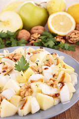 chicory salad with walnut, apple and cheese
