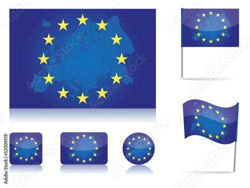 Europa Flagge Fahne Icon Set Europakarte