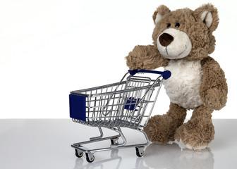 Teddy mit Einkaufswagen