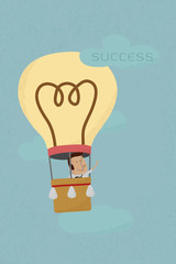 Businessman success from his own balloon idea , eps10 vector for