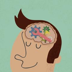 Head and Brain Gears in Progress.  , eps10 vector format