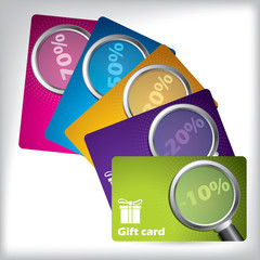 Gift card design with magnifiers