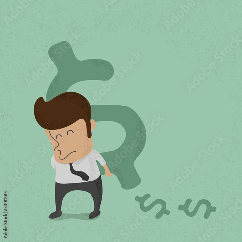 Business man lifting dollar sign  , eps10 vector format