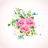 Fototapety Romantic pattern design with roses