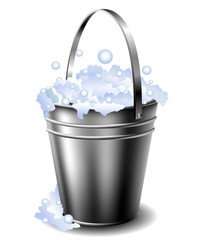 Metal bucket with foam
