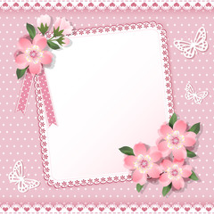 Background  with frame and flowers.