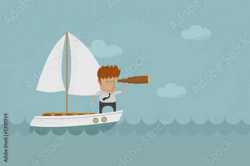 Business man sailing and  looking future , eps10 vector format