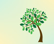 green oak tree, stylized, vector for design