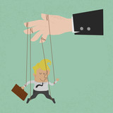 Businessman marionette on ropes controlled, eps10 vector format