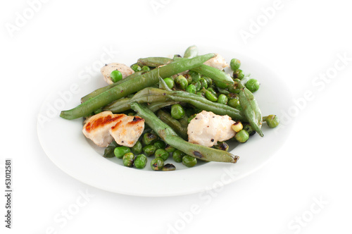 Green beans and peas with fried chicken