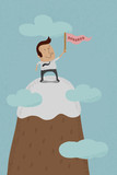 Businessman standing on the top of a high mountain  , eps10 vect
