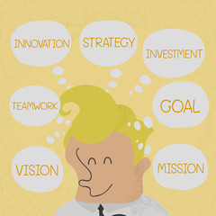 Business man thinking business plan to success , eps10 vector fo