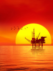 Oil platform in the sunset