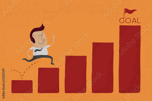 Happy Businessman jump over graph stat to goal , eps10 vector fo
