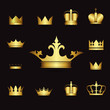 illustration set gold crowns on black background