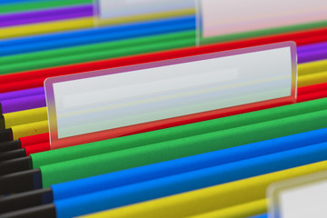 Multi colored File Folders with shallow depth of field