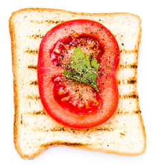 White bread toast with tomato. Isolated on white background, clo
