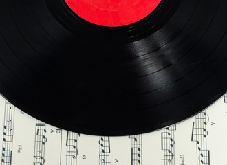 old disc on Musical notes paper