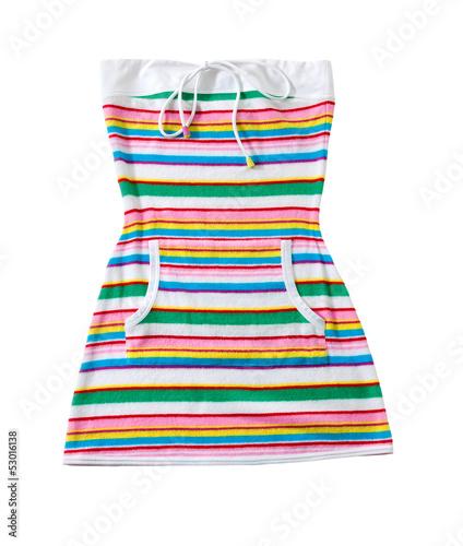 Sailor stripes strapless summer toweling mini dress